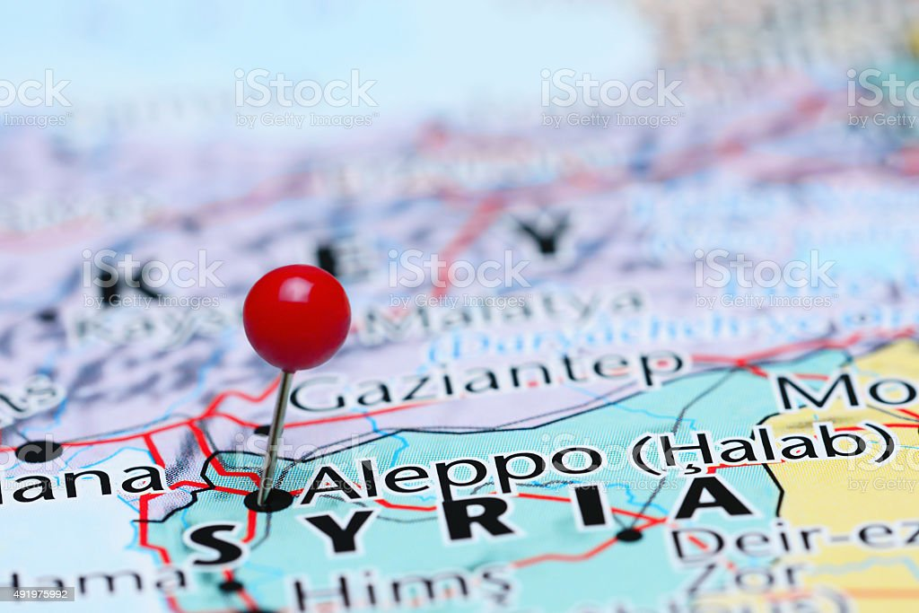 Aleppo pinned on a map of Asia stock photo