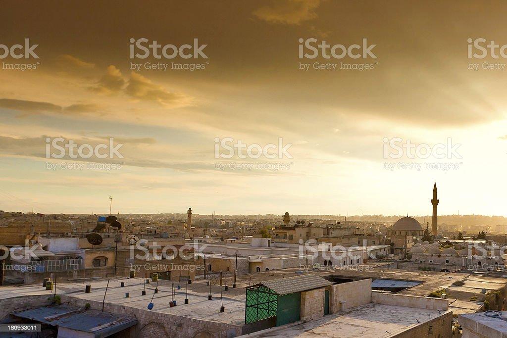 Aleppo Sonnenuntergang stock photo