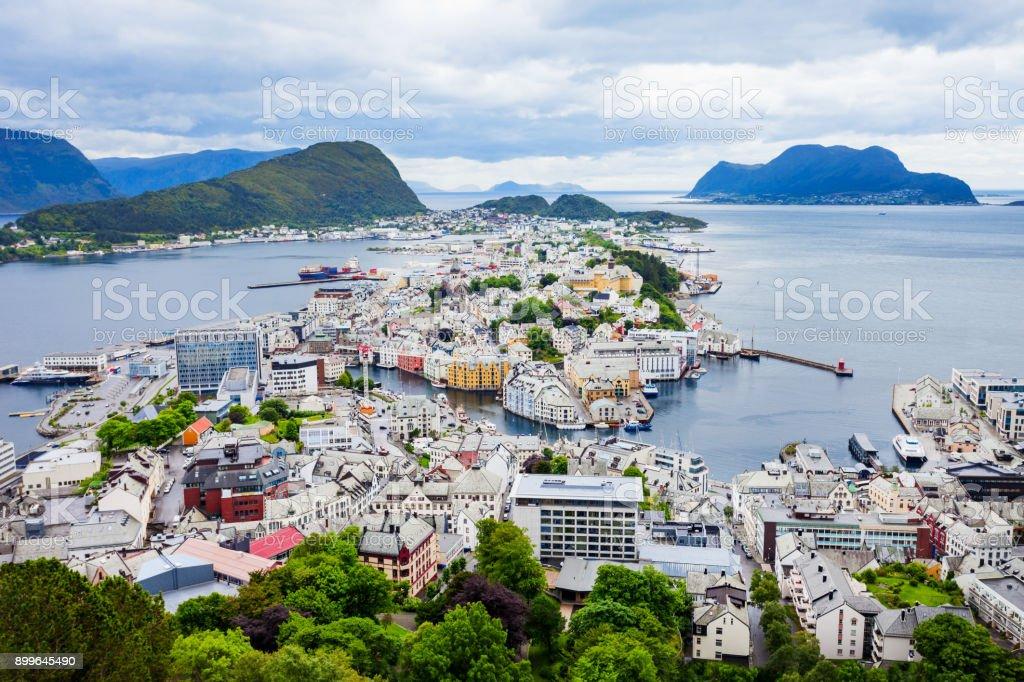 Alesund aerial panoramic view stock photo