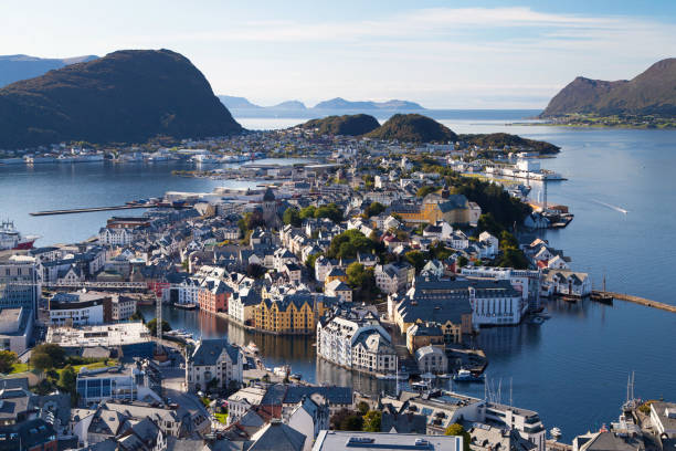 Alesund from the Fjellstua Viewpoint stock photo