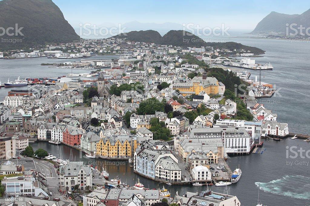Alesund , the Art Deco city of Norway stock photo