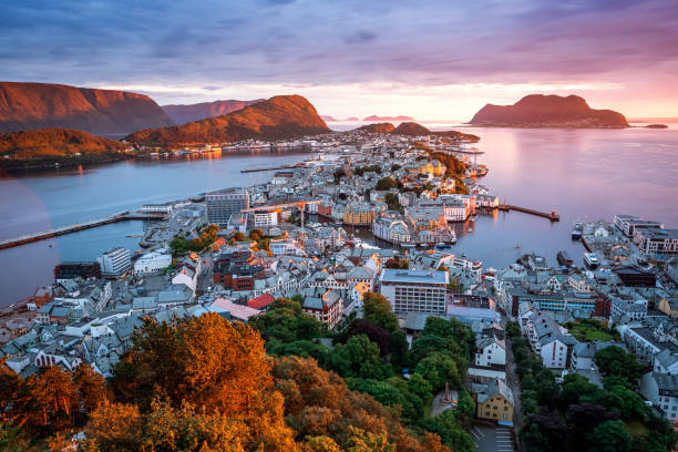 Alesund - the tourist city of Norway stock photo