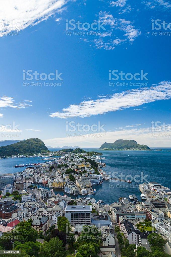 Alesund town overlook view, Norway stock photo