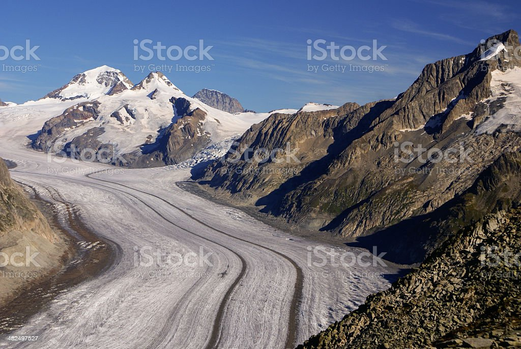 Aletch the longest glacier in Alps royalty-free stock photo