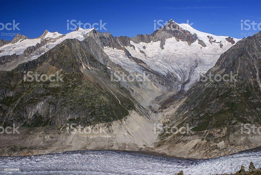 Aletch the longest glacier in Alps stock photo