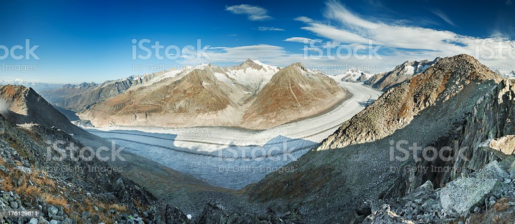 Aletsch Glacier and mountains in Switzerland on a sunny day royalty-free stock photo