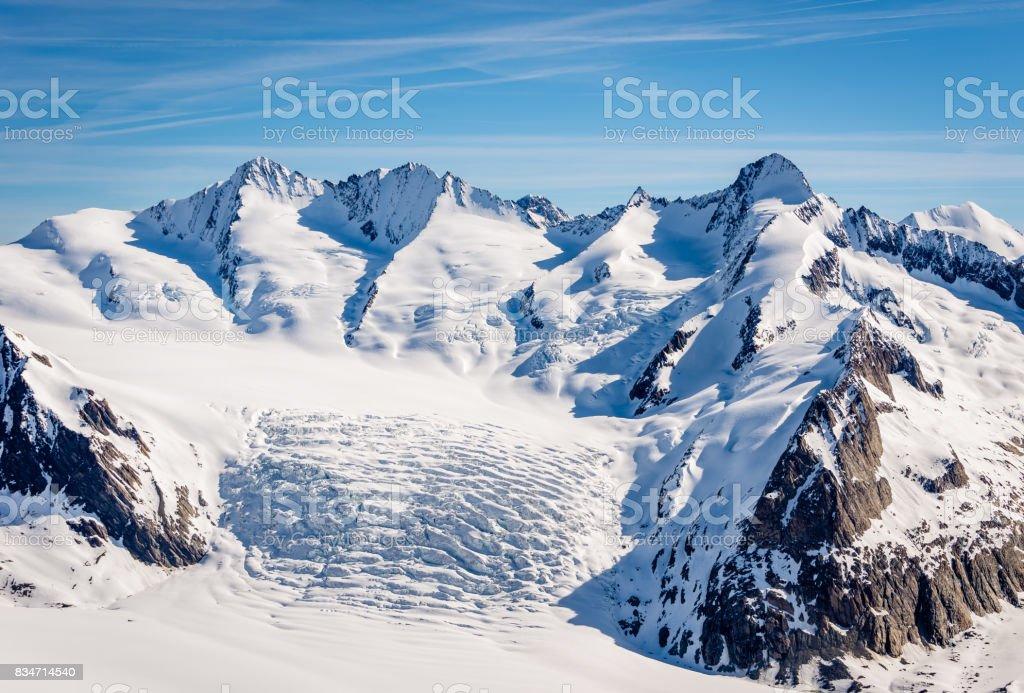Aletsch glacier details stock photo