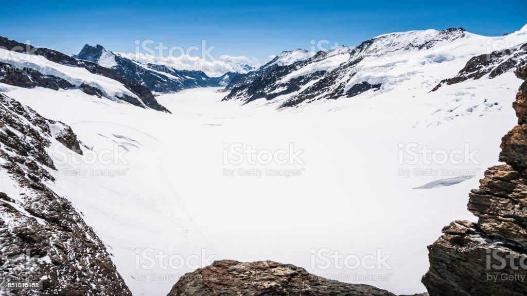Aletschgletscher or Aletsch glacier - ice landscape in Swiss Alpine Regions, Jungfraujoch Station, the top of europe train station, Switzerland, Europe stock photo