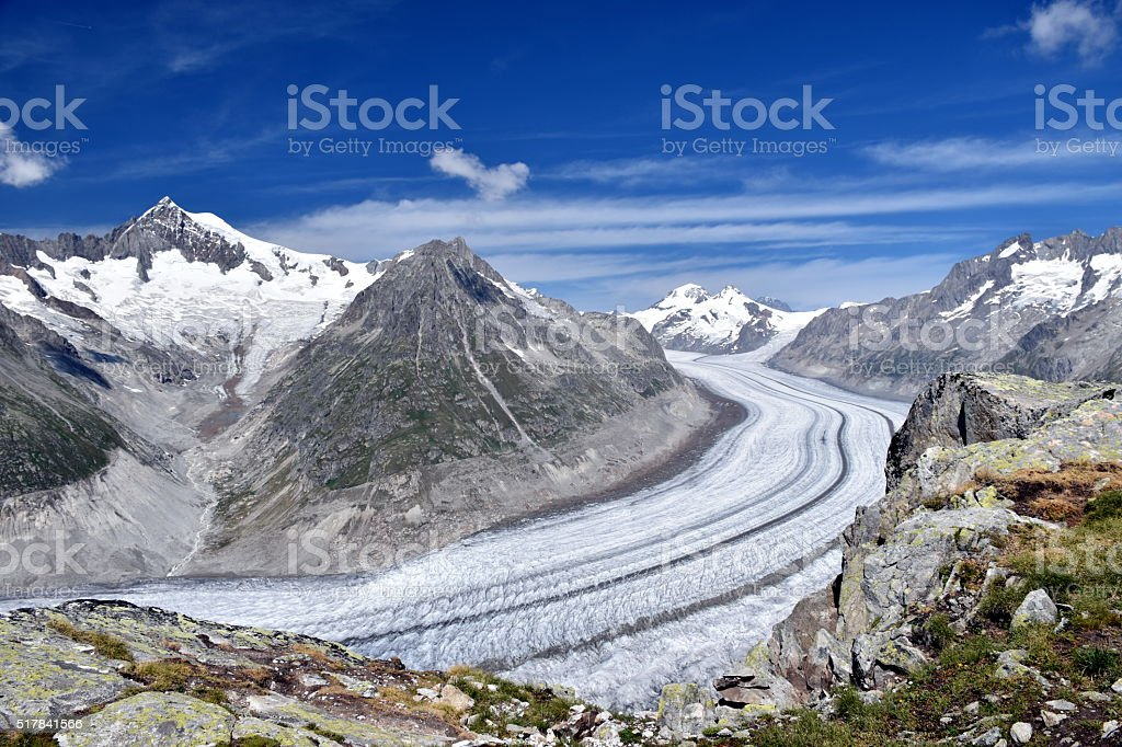 Aletschgletscher the biggest glacier in the Alps stock photo
