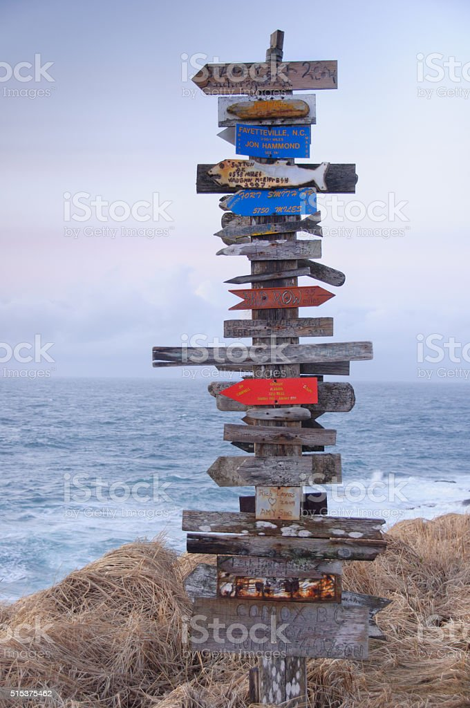 Aleutian Islands Guidepost and Directional Sign in Alaska stock photo