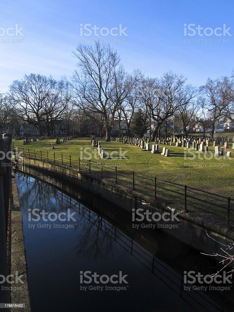 Alewife Brook along St Paul's Cemetery royalty-free stock photo