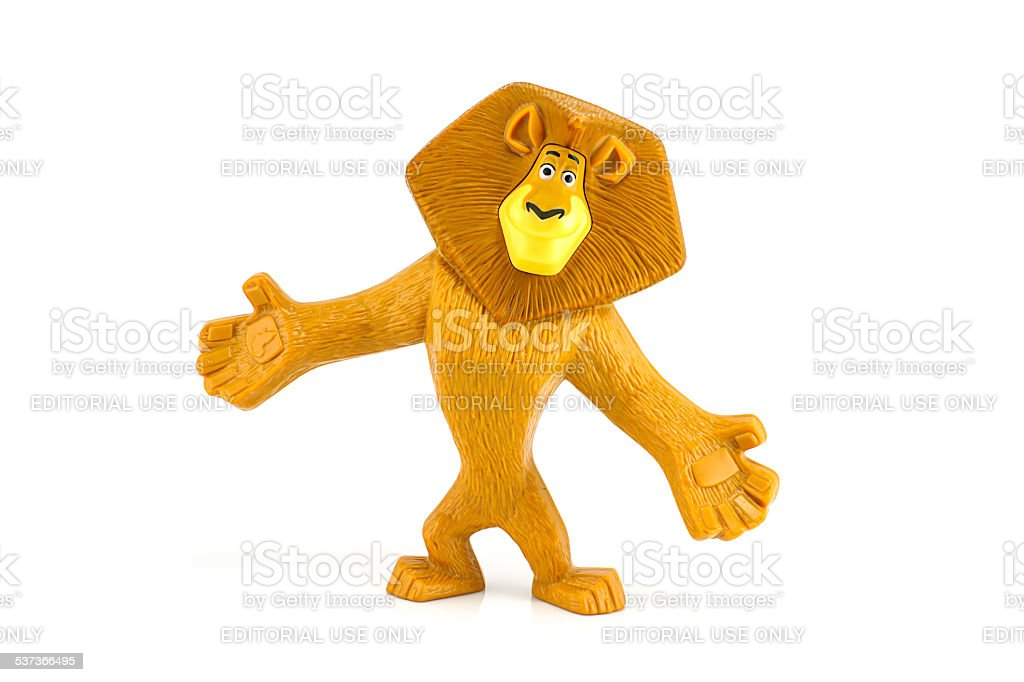 Alex African lion main toy character form Madagascar film. stock photo