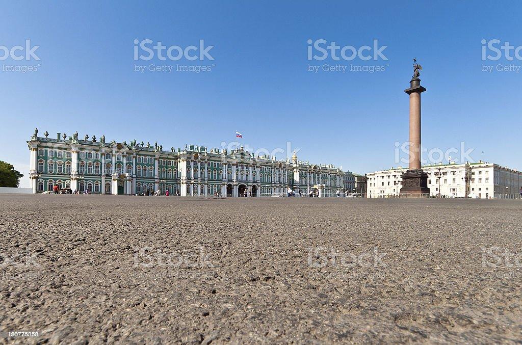 Alexander column and Hermitage Museum, Saint Petersburg, Russia stock photo