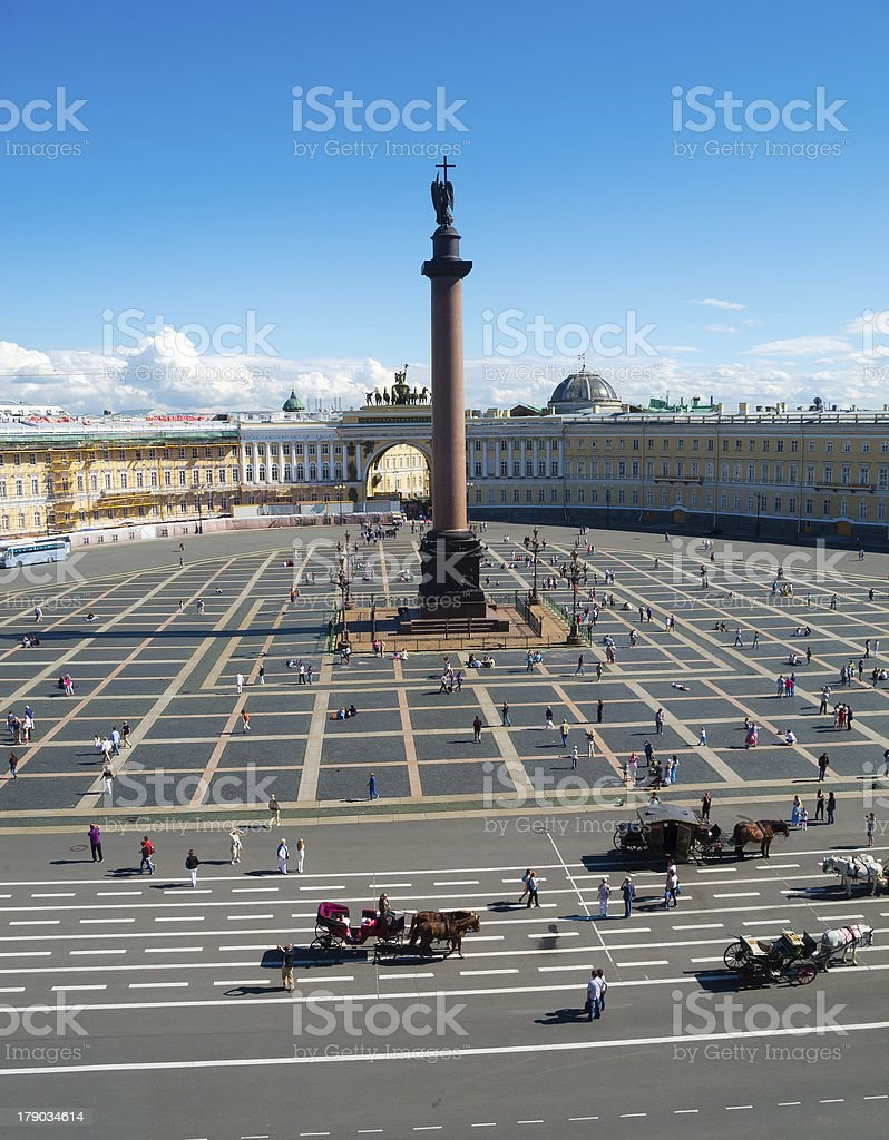 Alexander Column on Palace Square in St. Petersburg royalty-free stock photo