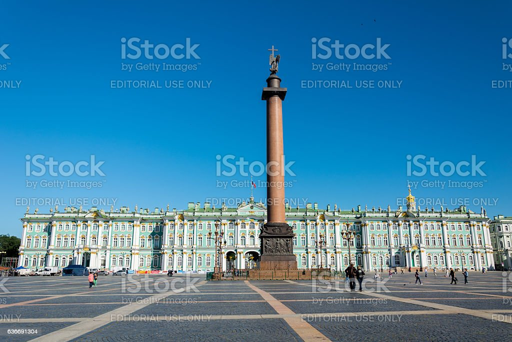 Alexander Column on Palace Square, Saint Petersburg, Russia stock photo