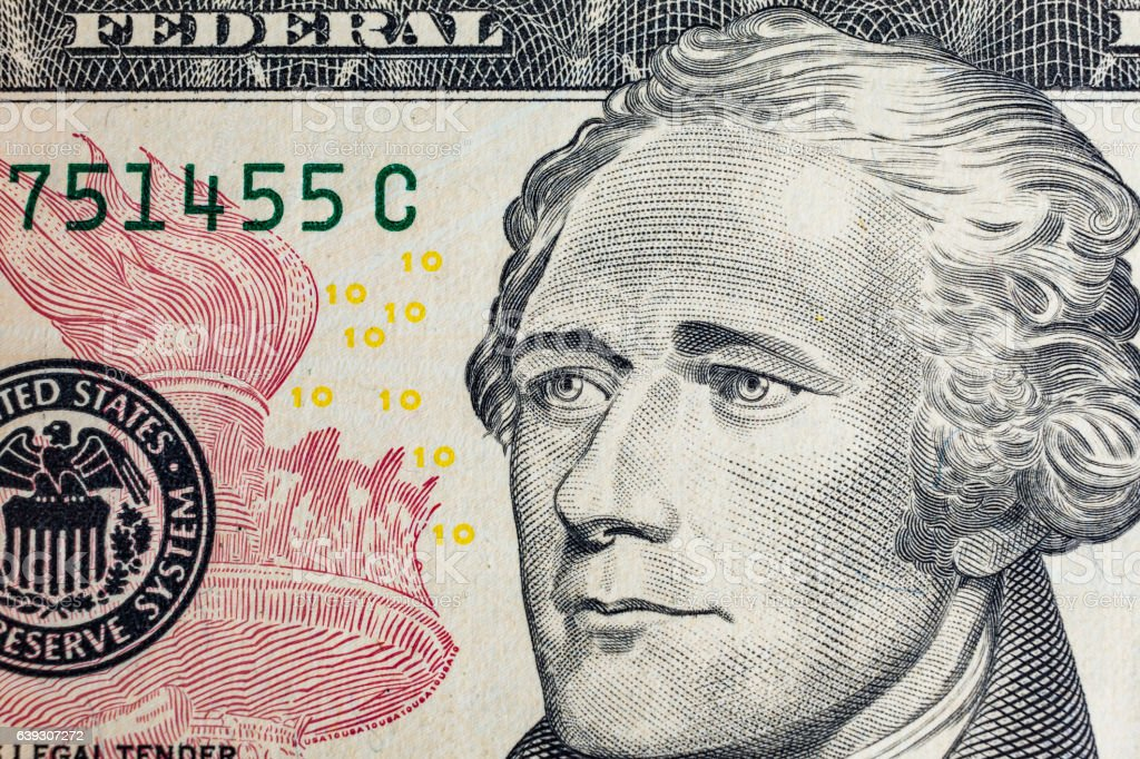 'Alexander Hamilton' face on  10 dollars bill macro stock photo