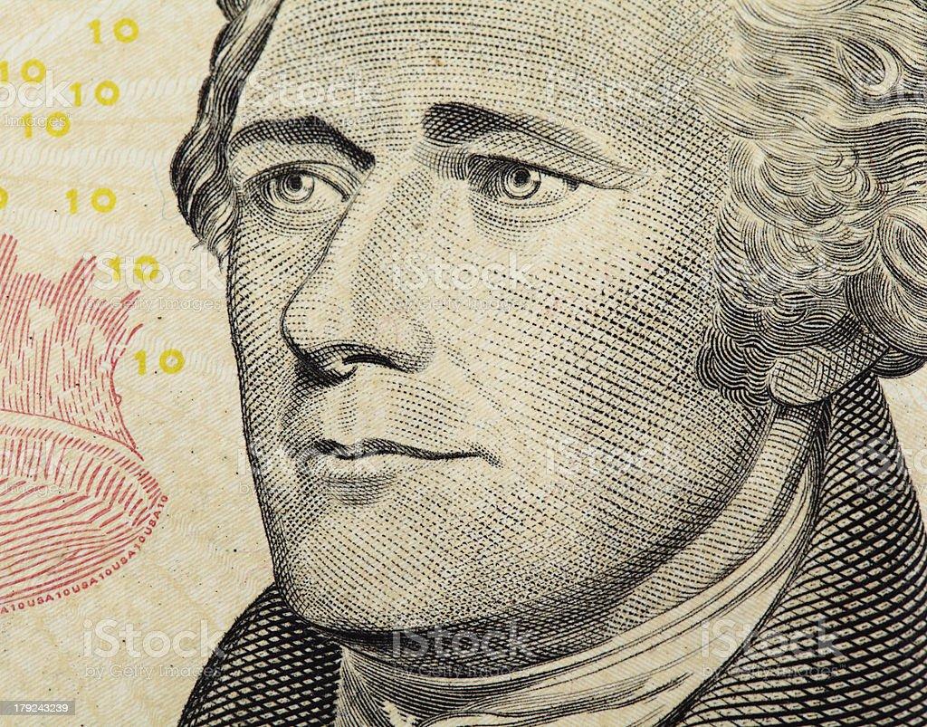 Alexander Hamilton on US ten dollars bank note close up stock photo