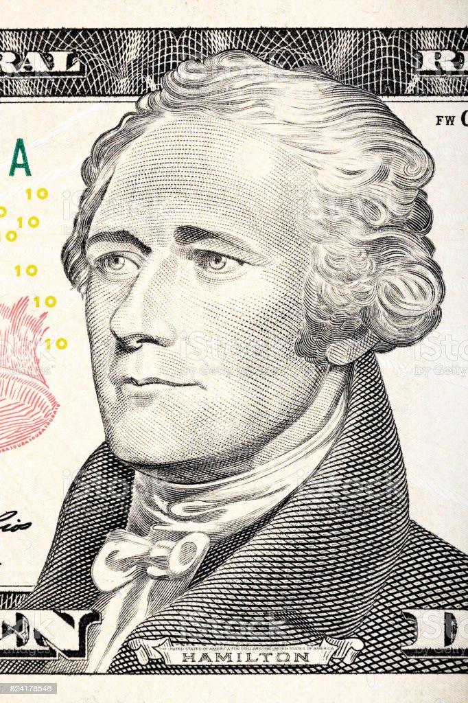 Alexander Hamilton portrait from ten dollar bill close-up stock photo