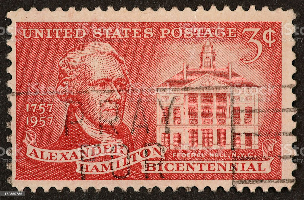 Alexander Hamilton stamp 1957 royalty-free stock photo