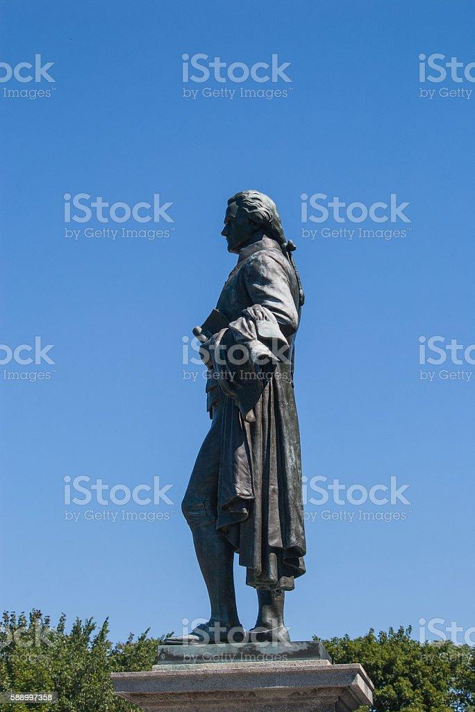Alexander Hamilton statue in profile stock photo