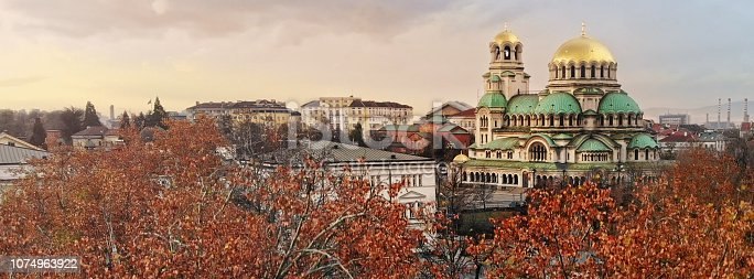 Alexander Nevski Cathedral in Sofia Bulgaria with autumn trees