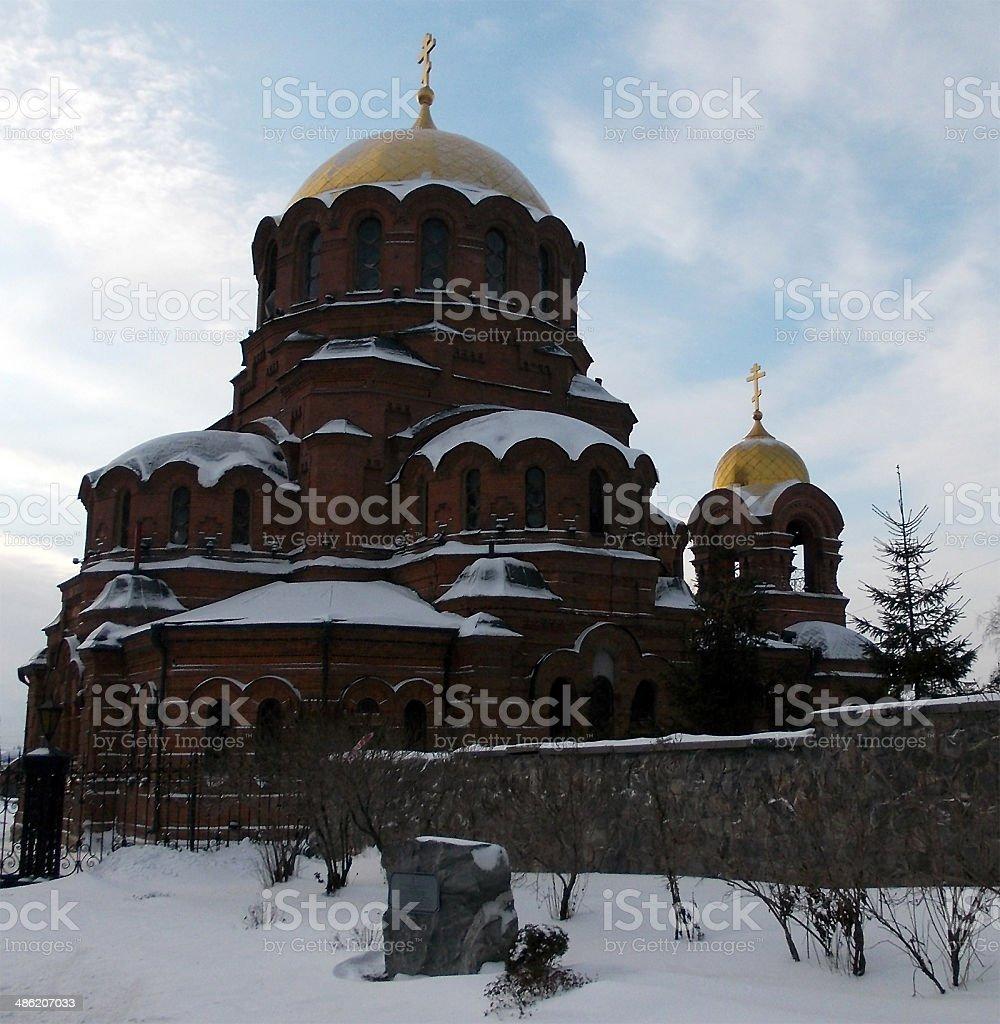 Alexander Nevsky cathedral in Novosibirsk stock photo