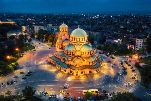 Alexander Nevsky Cathedral in Sofia, Bulgaria, taken in May 2019, taken in HDR stock photo