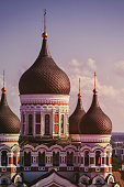 Towers and onion domes of the orthodox Alexander Nevsky cathedral in Tallinn, Estonia.