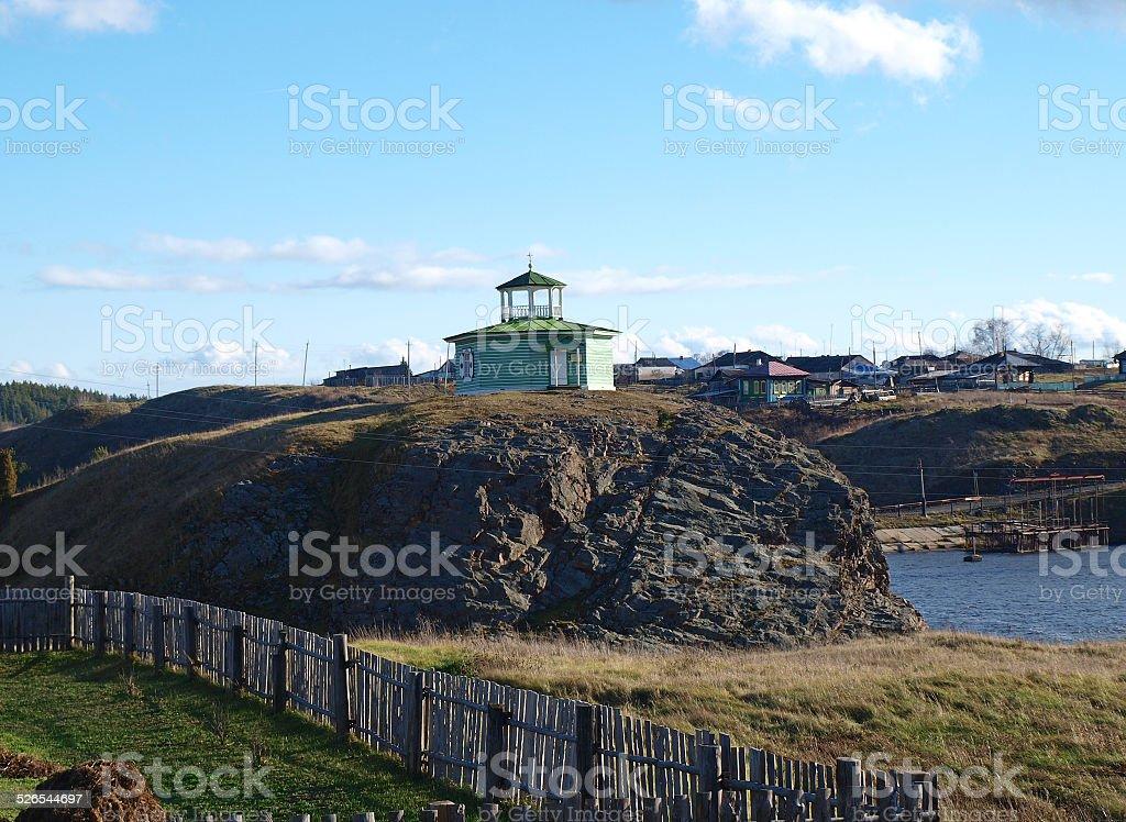 Alexander Nevsky Chapel on the lake stock photo
