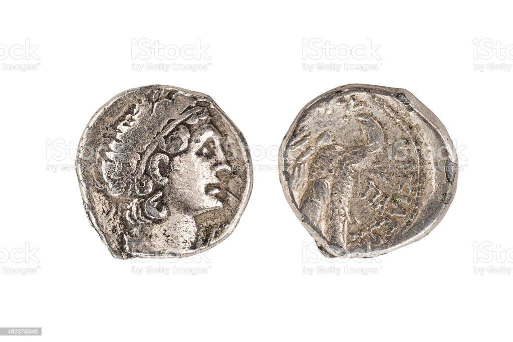 Alexandre o Grande moeda, com Traçado de Recorte - foto de acervo
