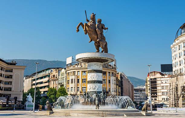 alexander the great monument in skopje - macedonia - üsküp stok fotoğraflar ve resimler