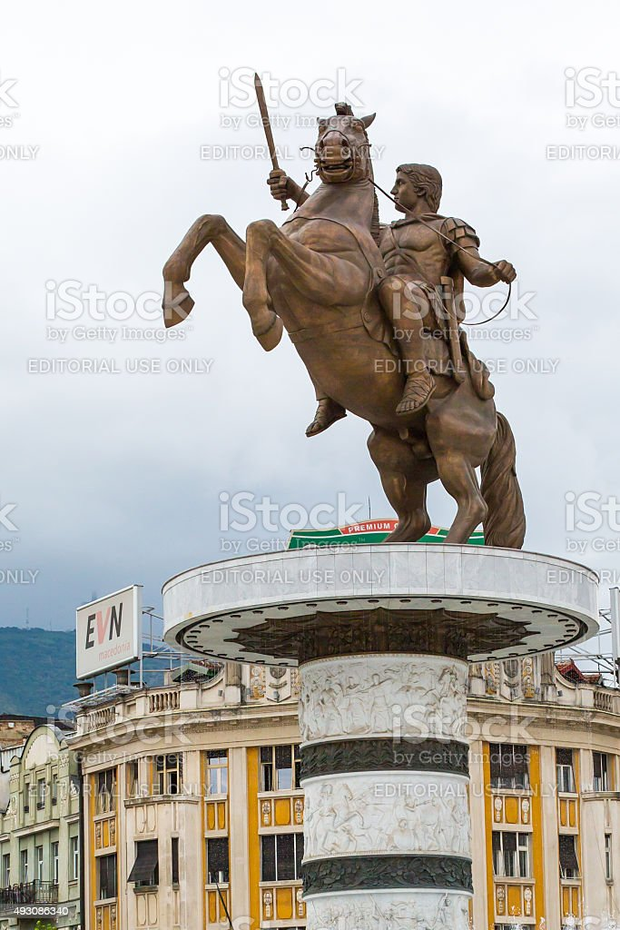 Alexandre o Grande Estátua da praça principal no centro de - foto de acervo