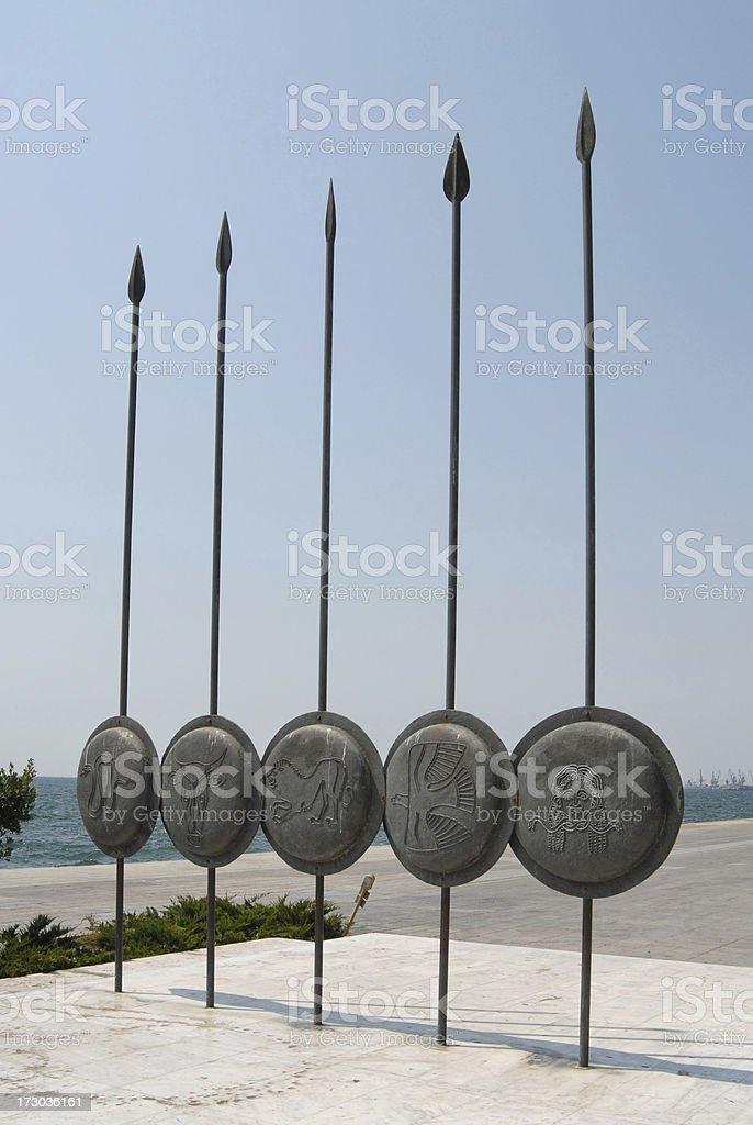 Alexander armas, escudos e lanças - foto de acervo