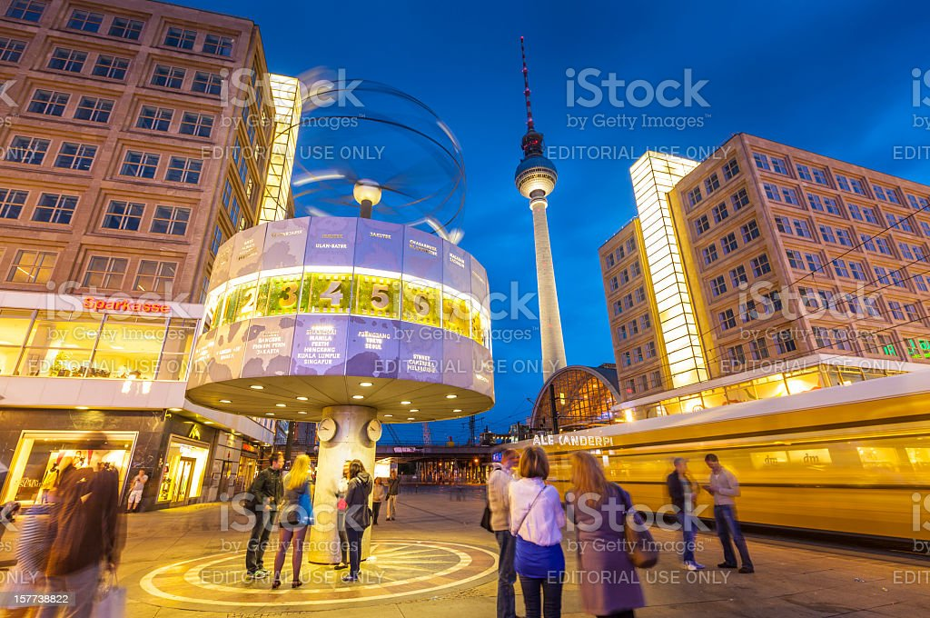 Alexanderplatz, World Clock and Fernsehturm Tower, Berlin stock photo