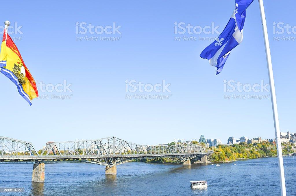 Alexandra Bridge between Ottawa, Ontario and Gatineau, Quebec stock photo
