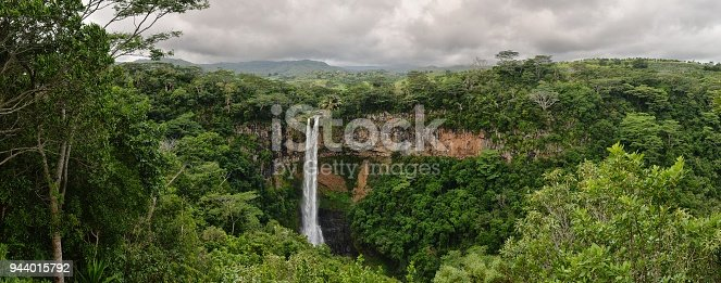A panoramic image of the Alexandra Falls in the Black River Gorges Nature Park Albion Mauritius