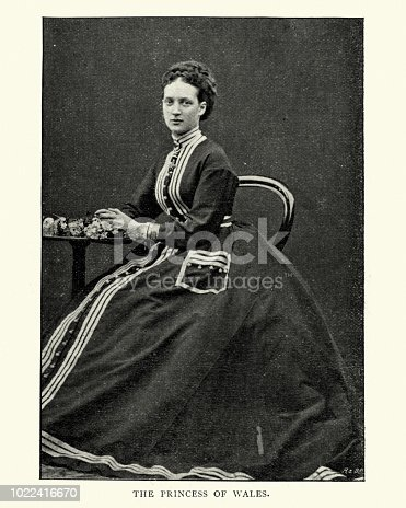 Vintage photograph of Alexandra of Denmark, Queen consort of the United Kingdom and the British Dominions and Empress of India as the wife of King Edward VII. 19th Century