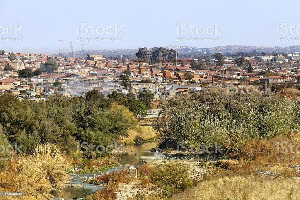 Alexandra township and Jukskei river stock photo
