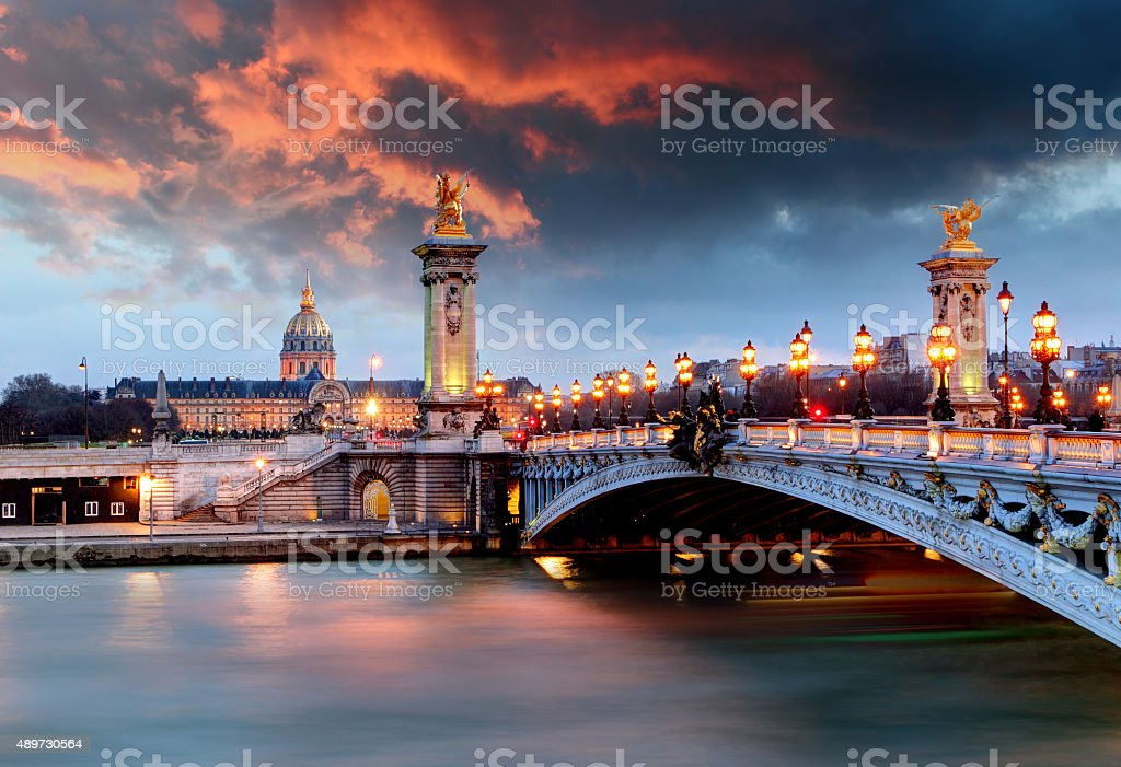 Alexandre 3 Bridge, Paris, France stock photo