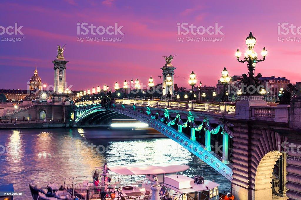 Alexandre Bridge in Paris at night stock photo