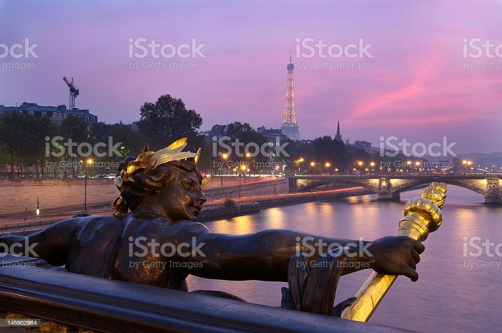 Alexandre iii bridge and eiffel tower stock photo