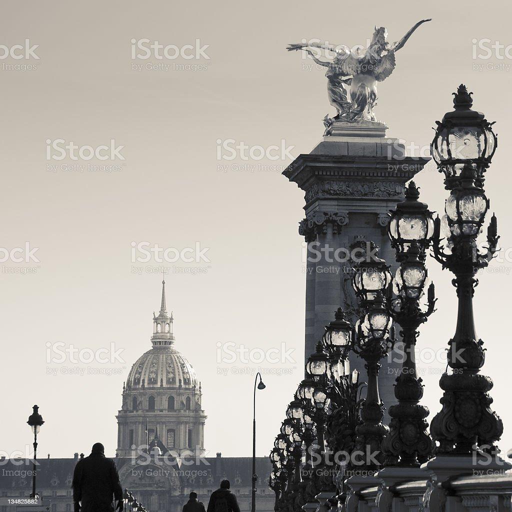 Alexandre III Bridge and Invalides royalty-free stock photo