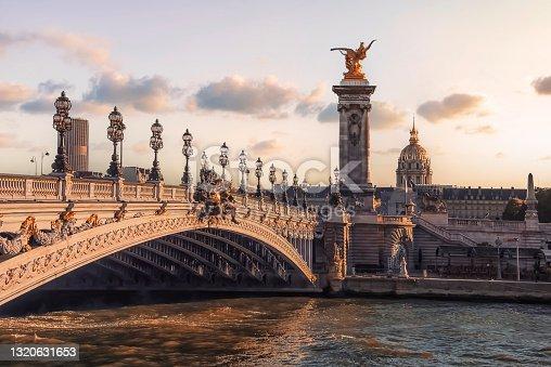 istock Alexandre III bridge in Paris at sunset 1320631653