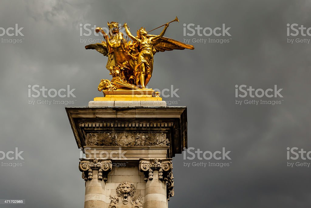 Alexandre III Bridge Pillar Close Up against Clouds, Paris royalty-free stock photo