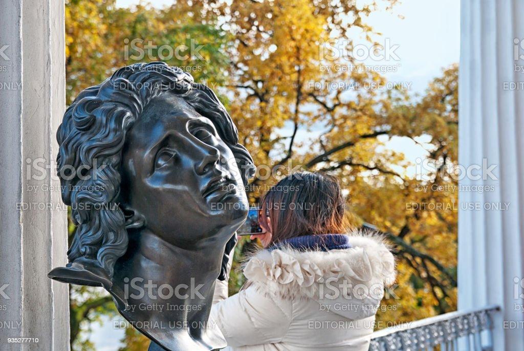 Alexandre The Great bust. Pushkin. Tsarskoye Selo. Russia stock photo