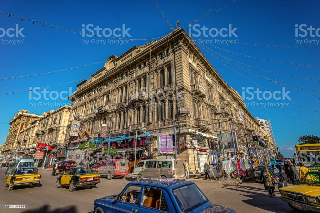 16/11/2018 Alexandria, Egypt, Bright and colorful streets of an ancient African city on a sunny day. 16/11/2018 Alexandria, Egypt, Bright and colorful streets of an ancient African city on a sunny day. Africa Stock Photo