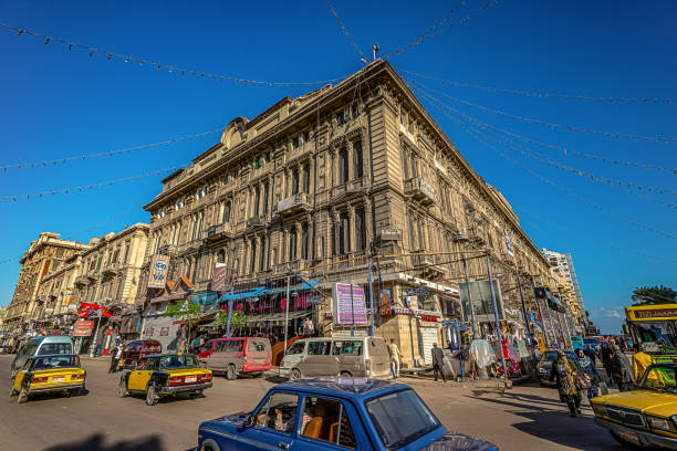 16/11/2018 Alexandria, Egypt, Bright and colorful streets of an ancient African city on a sunny day. stock photo