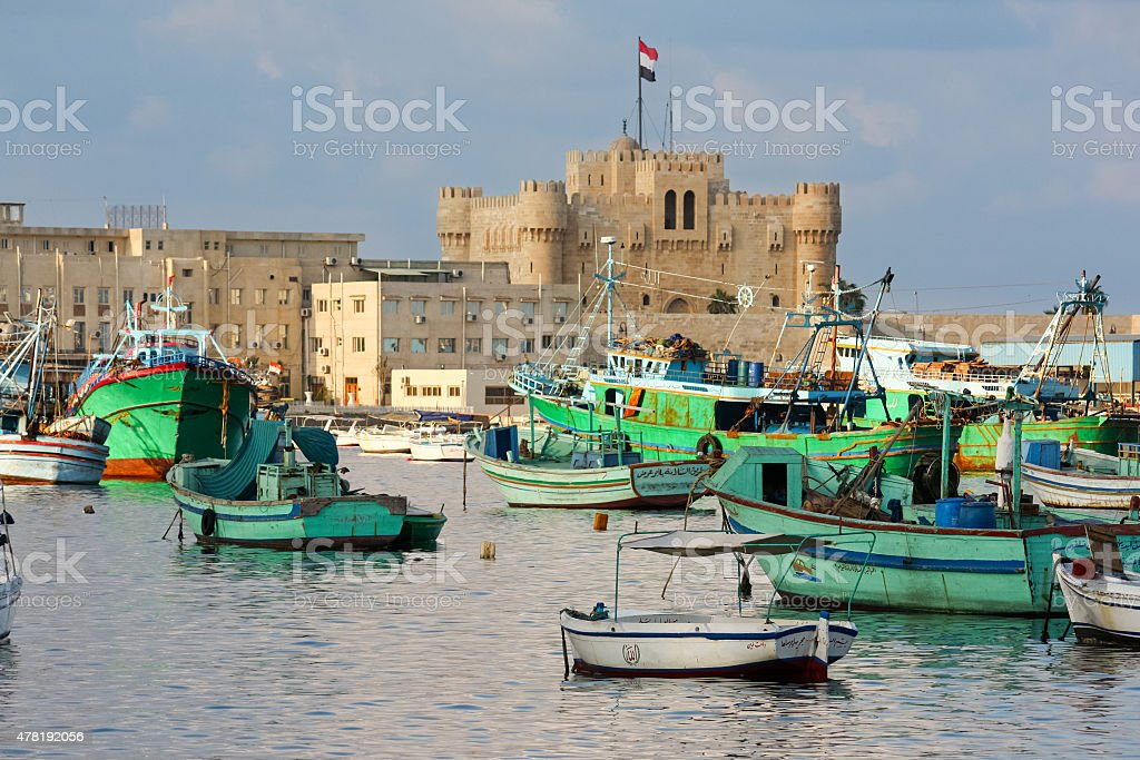 Alexandria Egypt Harbor Qaitbay Castle stock photo