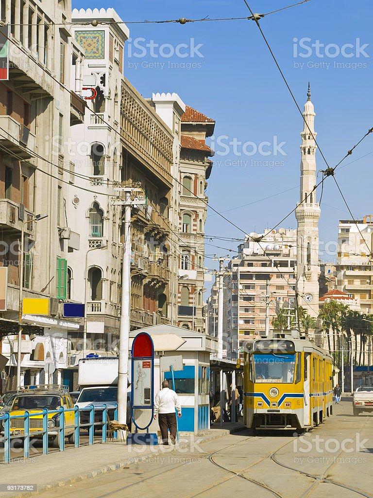 Parada de bonde de Alexandria, Egito - foto de acervo