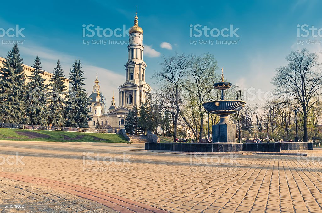 Alexandro-Nevskau belfry in Kharkiv stock photo